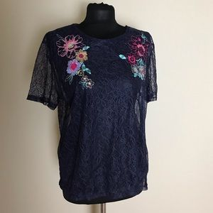 Zara Blue Lace Embroidered Top NWT
